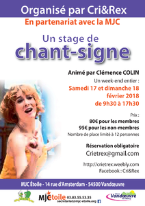 Stage de chant-signe: organisé par l'association Cri&Rex